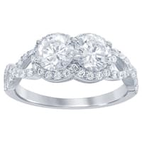 La Preciosa Sterling Silver Two-stone Cubic Zirconia 'By Your Side' Engagement Ring