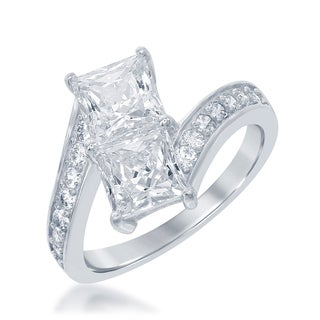La Preciosa Sterling Silver Two-stone Princess-cut Cubic Zirconia 'By Your Side' Engagement Ring