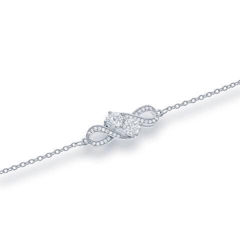 La Preciosa Sterling Silver Cubic Zirconia Two-stone 'By your side' Bracelet