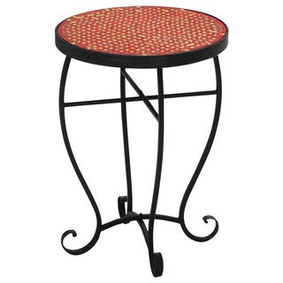 Moroccan Mosaic Red Round Side Accent Table