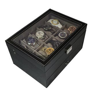 Sorbus Black Leather 20 Watch Glass Top Display Box|https://ak1.ostkcdn.com/images/products/11104481/P18108658.jpg?impolicy=medium
