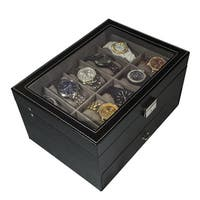 Sorbus Black Leather 20 Watch Glass Top Display Box