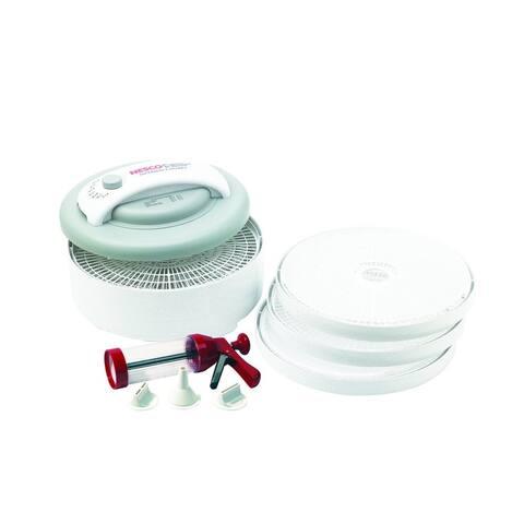 Nesco White 6-tray Premium Food Dehydrator with Jerky Gun