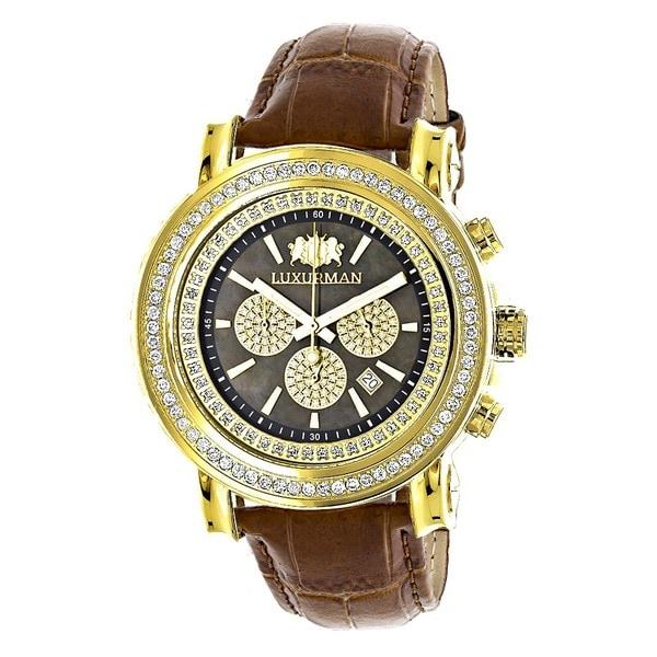 44aa3c73dba Large Yellow Gold Plated 2.5ct Diamond Bezel Watch For Men Luxurman Escalade