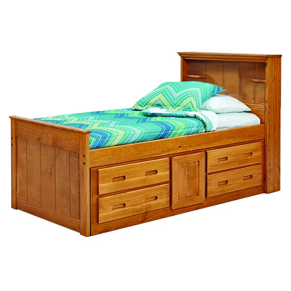 Woodcrest Heartland Bookcase Twin Captains Bed With
