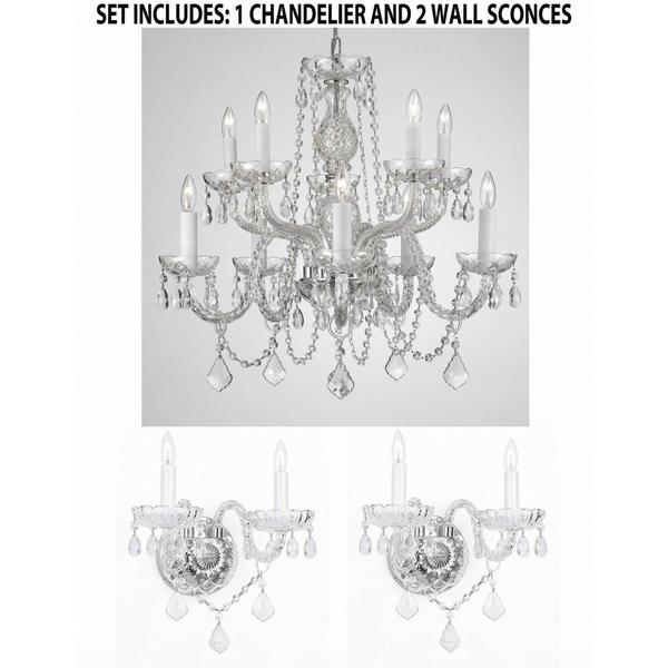 3 Piece Set Lighting Set Crystal Chandelier 2 Wall Sconces Free