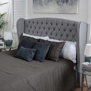 Alberta Full/ Queen Tufted Fabric Wingback Headboard by Christopher Knight Home