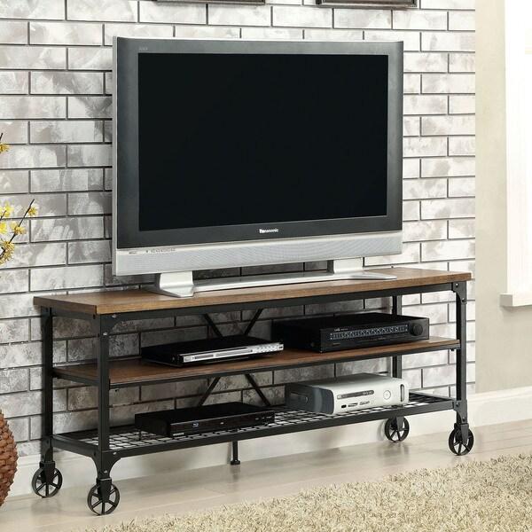 Furniture Of America Daimon Industrial Medium Oak Tv Stand