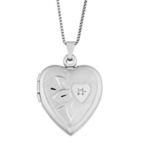 Fremada Rhodium Plated Sterling Silver with Diamond Accent Satin Finished Surface Heart Locket Necklace (18 inches)