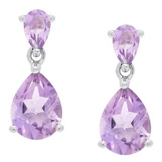 Dolce Giavonna Sterling Silver Amethyst Teardrop Dangle Earrings