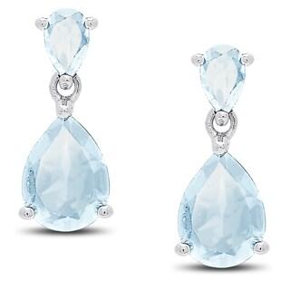 Dolce Giavonna Sterling Silver Blue Topaz Teardrop Dangle Earrings