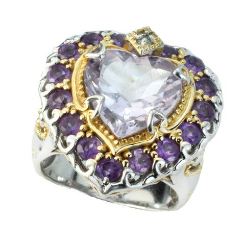 One-of-a-kind Michael Valitutti Pink Amethyst and Ametrine Heart Ring (Size 8)