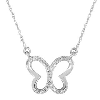 Sterling Silver 1/10ct TDW Diamond Butterfly Pendant