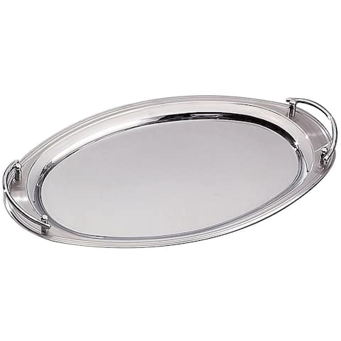 """Heim Concept 22"""" x 13"""" Oval Stainless Steel Tray w/ Handles"""