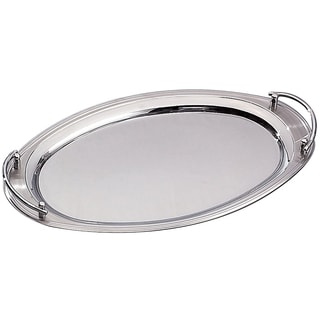 "Elegance 22"" x 13"" Oval Stainless Steel Tray w/ Handles"