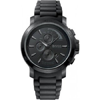 Hugo Boss Men's Chronograph Black Dial Black Silicone Watch 1512393
