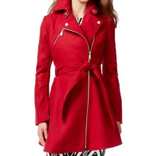 BCBG Generation Women's Red Blue Wool Skirted Coat