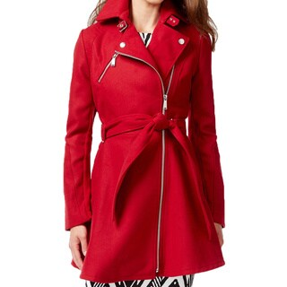 BCBG Generation Women's Red Blue Wool Skirted Coat