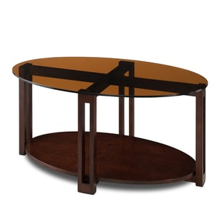 Oval Bronze Glass Top Contemporary Coffee Table