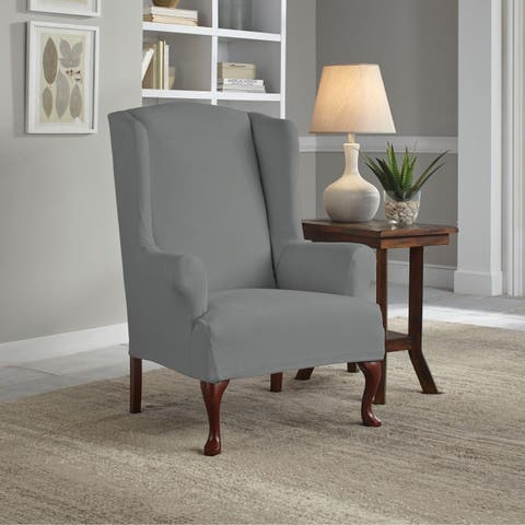 Tailor Fit Reversible Stretch Suede T Wingback Chair Slipcover