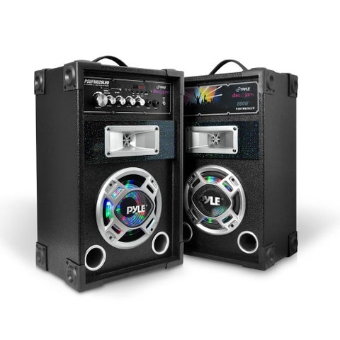 Pyle PSUFM626LED Disco Jam Dual Bookshelf Stereo Speaker System with USB/SD/MP3 Streaming FM Radio and Flashing DJ Party Lights