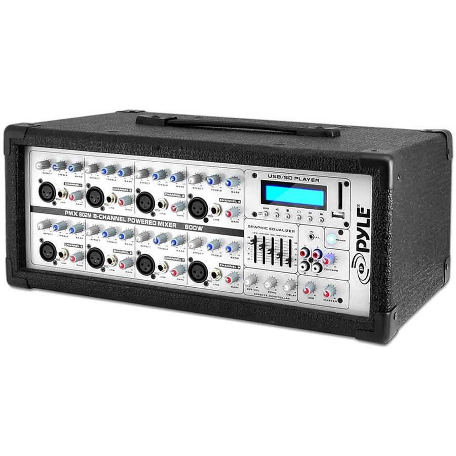 Pyle PMX802M 8-Channel 800 Watt Powered Mixer AUX Input S...