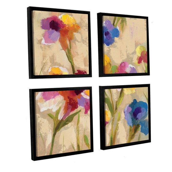 ArtWall Silvia Vassileva's Bold Bright Flowers II, 4 Piece Floater Framed Canvas Sqare Set