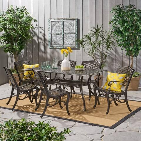 Christopher Knight Home Outdoor Hallandale 7-piece Cast Aluminum Rectangle Bronze Dining Set