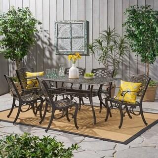 Christopher Knight Home Outdoor Hallandale 7 Piece Cast Aluminum Rectangle  Bronze Dining Set