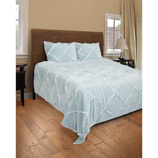 Rizzy Home Posh Light Blue 3-piece Quilt Set