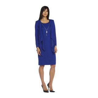 R&M Richards Women's Blue Knit Jacket Dress