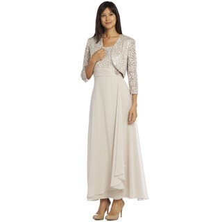 R&M Richards Women's Champagne Long Lace Jacket Dress