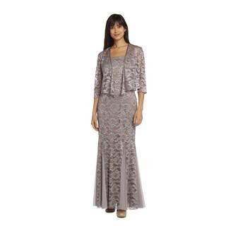 R&M Richards Women's Mocha Lace Jacket Dress