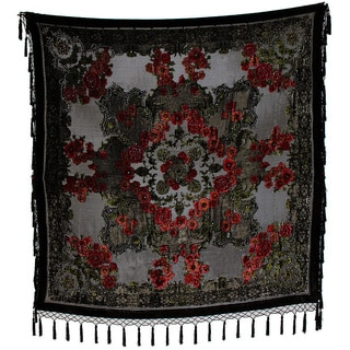 ARIS A. Hand-beaded Garden Dream Square Scarf