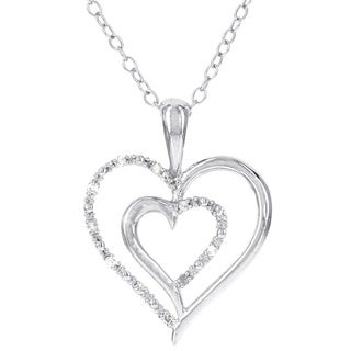 H STAR Sterling Silver Diamond Accent Double Cut-out Heart Pendant (I-J, I2-I3)