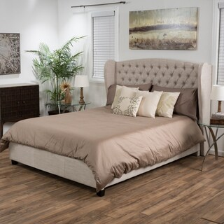 Alberta Tufted Fabric Wingback Full Bed Set by Christopher Knight Home