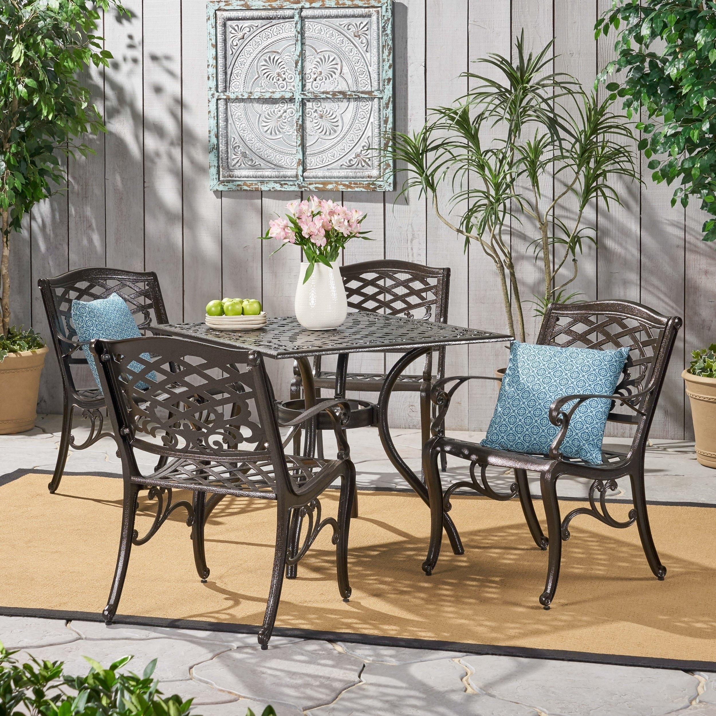 Picture of: Shop Black Friday Deals On Outdoor Hallandale 5 Piece Cast Aluminum Square Bronze Dining Set By Christopher Knight Home Overstock 11105154