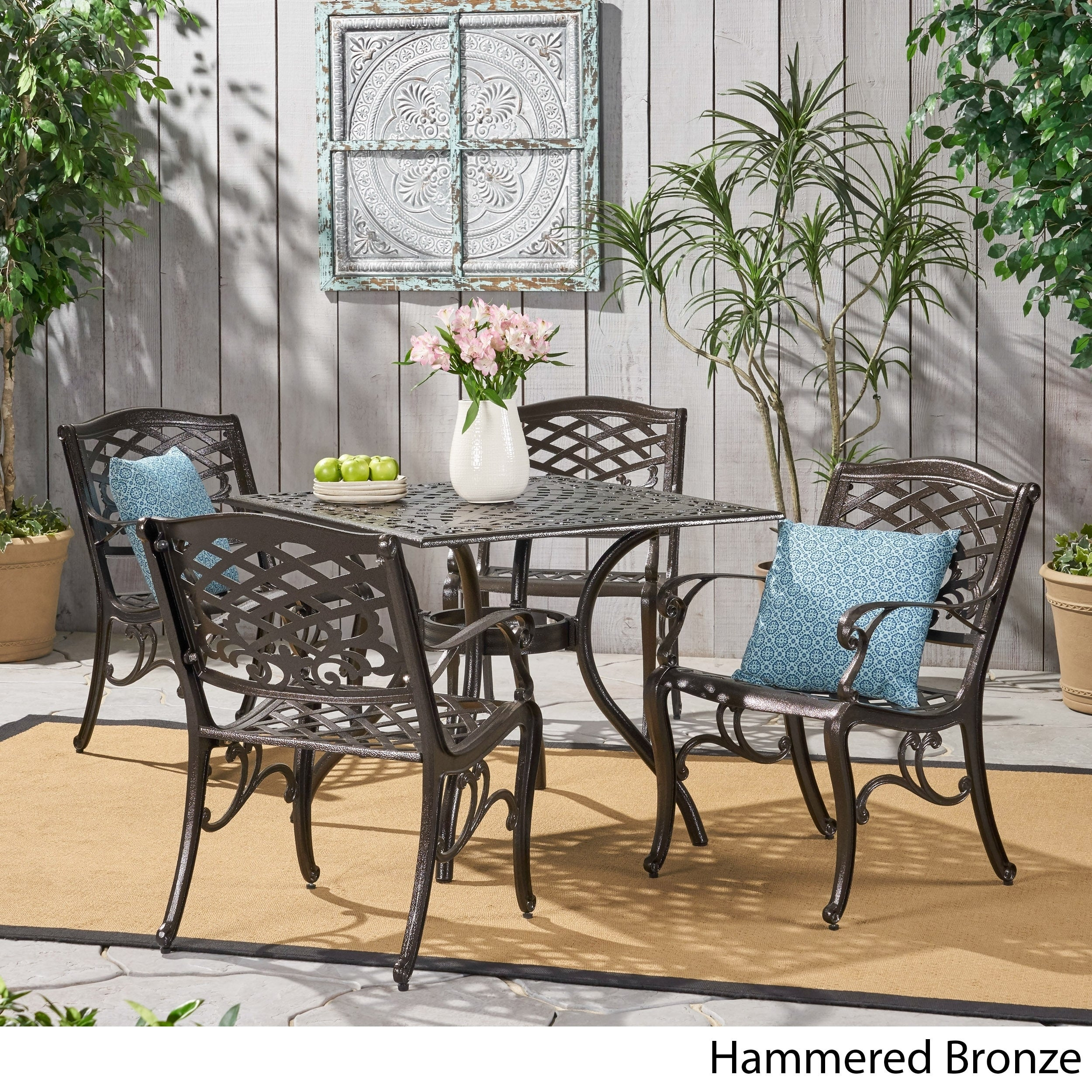 Outdoor Hallandale 5 Piece Cast Aluminum Square Bronze Dining Set By Christopher Knight Home On Sale Overstock 11105154