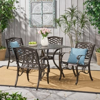 Christopher Knight Home Outdoor Hallandale 5-piece Cast Aluminum Square Bronze Dining Set