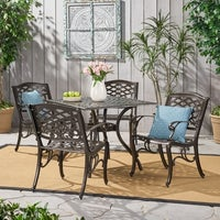 Outdoor Hallandale 5 Piece Cast Aluminum Square Bronze Dining Set By Christopher Knight Home