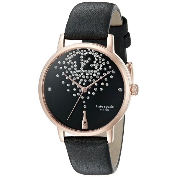 Shop Kate Spade Women s  Metro  Champagne Crystal Black Leather Watch -  Free Shipping Today - Overstock - 11105172 a5319f0701