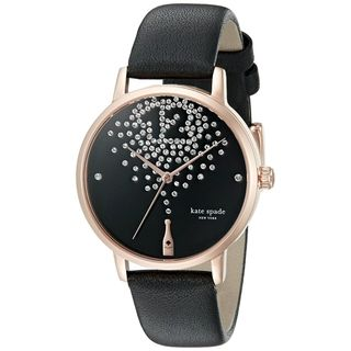 Kate Spade Women's 'Metro' Champagne Crystal Black Leather Watch
