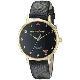 Kate Spade Women's KSW1039 'White 5 O'Clock Metro' Black Leather Watch
