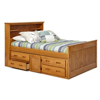 Woodcrest Heartland Full-sized Bookcase Captains Bed with Storage