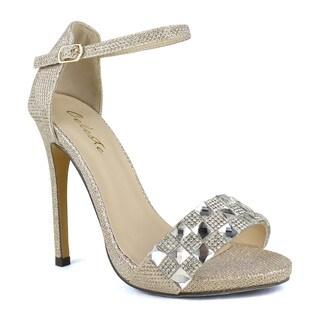Celeste Lily-03 Women's Rhinestones Slim Ankle Strap Sandals