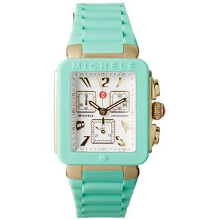 Michele Women's MWW06L000024 'Park Jelly Bean' Chronograph Green Silicone Watch