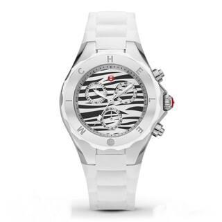 Michele Women's MWW12F000055 'Tahitian Jelly Bean' Zebra Chronograph White Rubber Watch|https://ak1.ostkcdn.com/images/products/11105211/P18109127.jpg?impolicy=medium