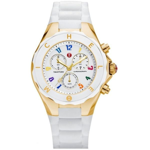 4242cbef4 Shop Michele Women's MWW12F000043 'Tahitian Jelly Bean' Chronograph White Silicone  Watch - Free Shipping Today - Overstock - 11105214