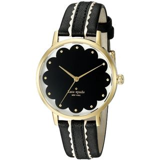 Kate Spade Women's KSW1001 'Scallop Metro' Black Leather Watch