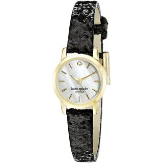 Kate Spade Women's KSW1010 'Tiny Metro' Black Leather Watch